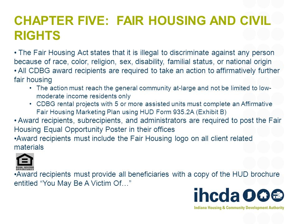 Chapter five: fair housing and Civil Rights