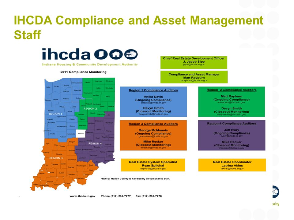 IHCDA Compliance and Asset Management Staff