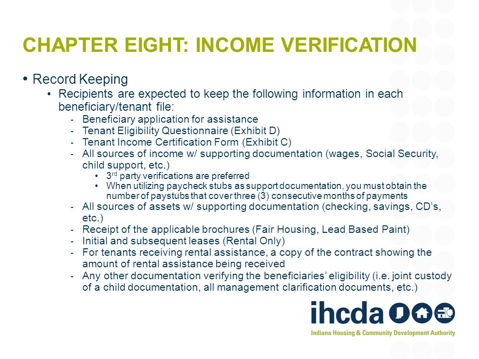 Chapter Eight: Income verification