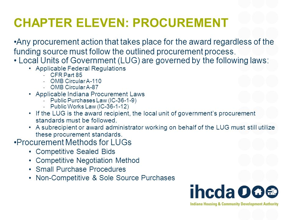 Chapter eleven: procurement