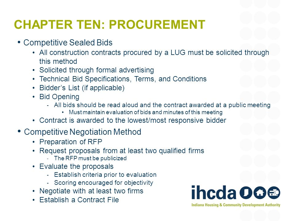 Chapter ten: procurement