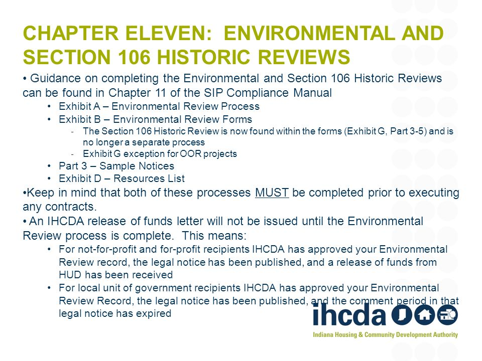 Chapter eleven: Environmental and Section 106 Historic Reviews