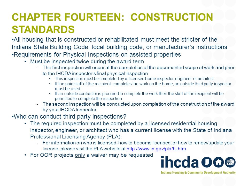 Chapter fourteen: construction standards