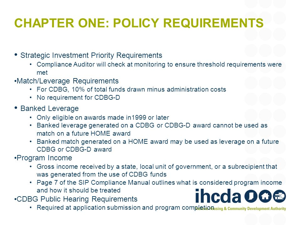 Chapter One: Policy Requirements