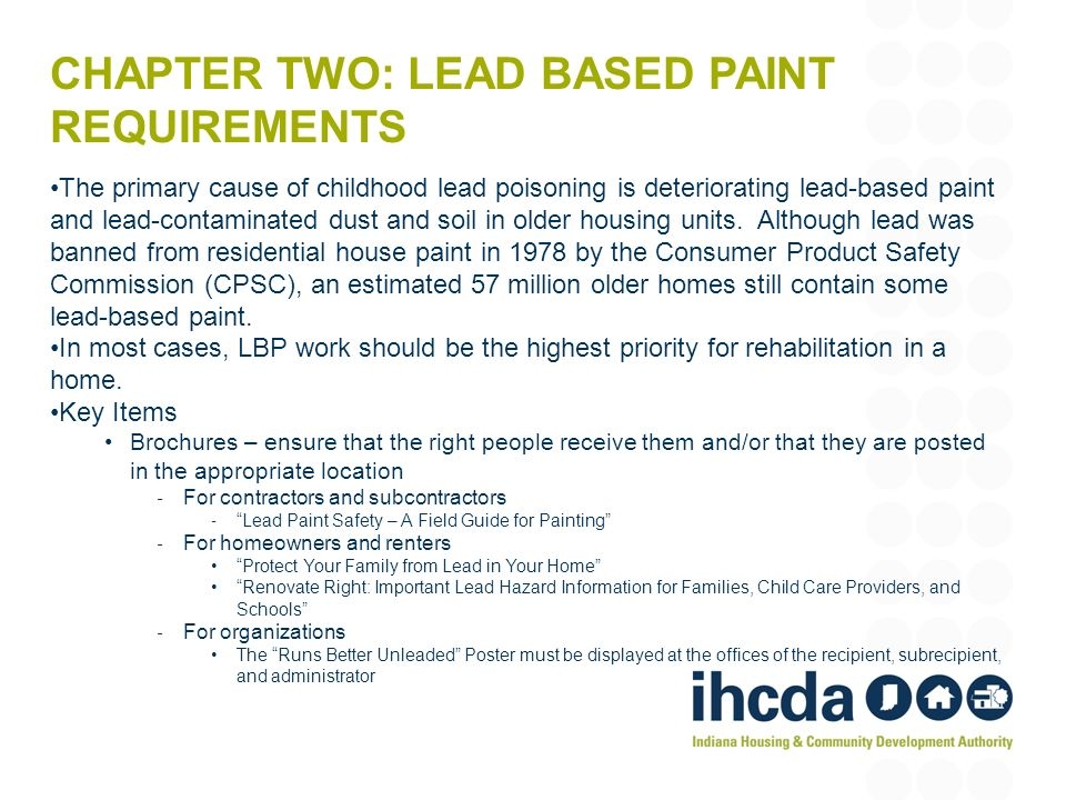 Chapter two: Lead Based Paint Requirements