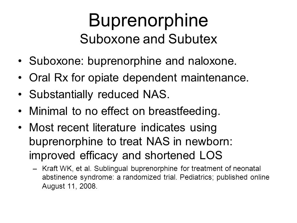 Buprenorphine Suboxone and Subutex