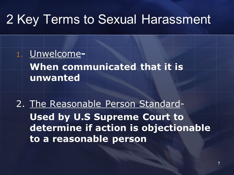 2 Key Terms to Sexual Harassment