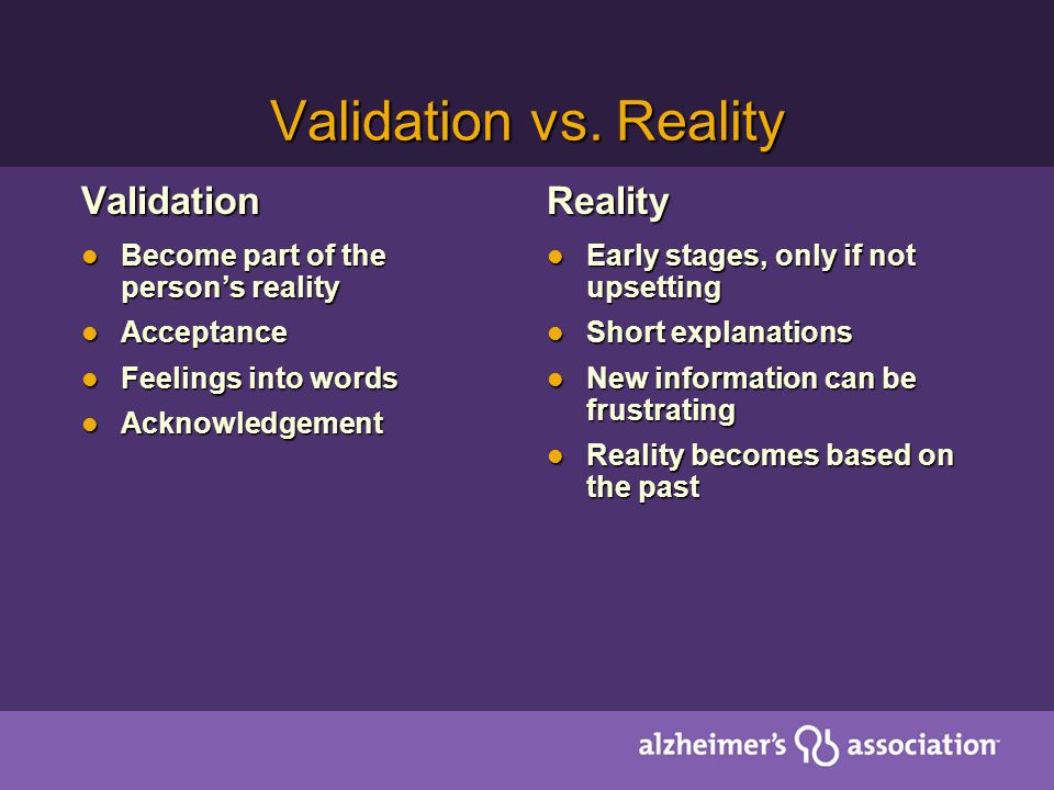 Validation vs. Reality Validation Reality