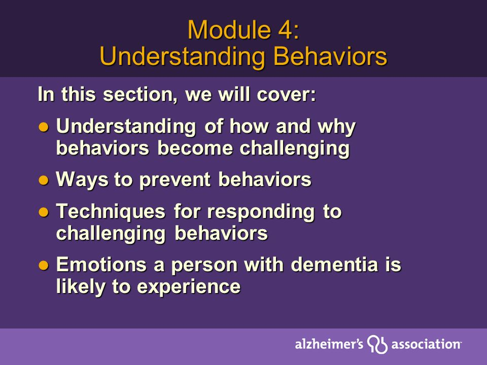 Module 4: Understanding Behaviors
