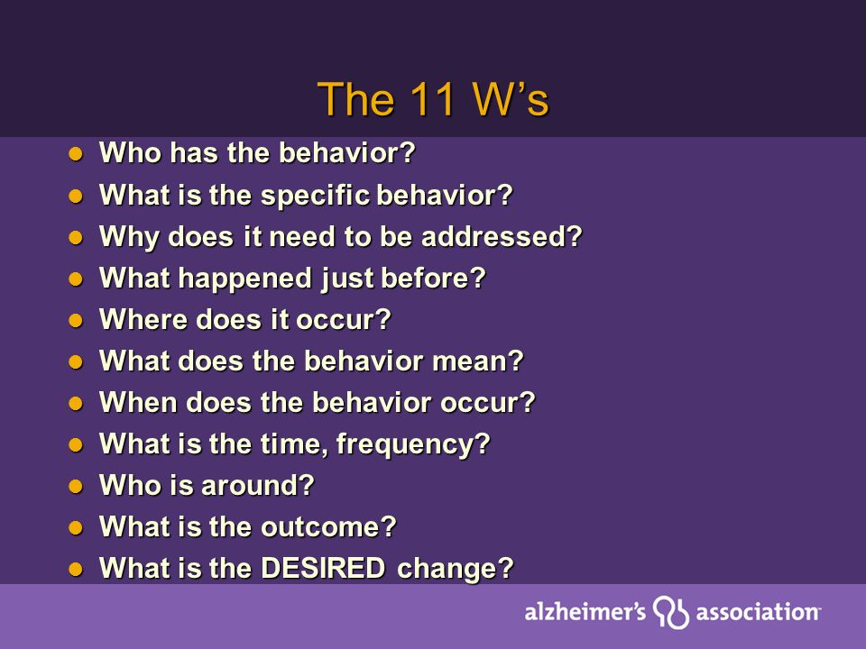 The 11 W's Who has the behavior What is the specific behavior