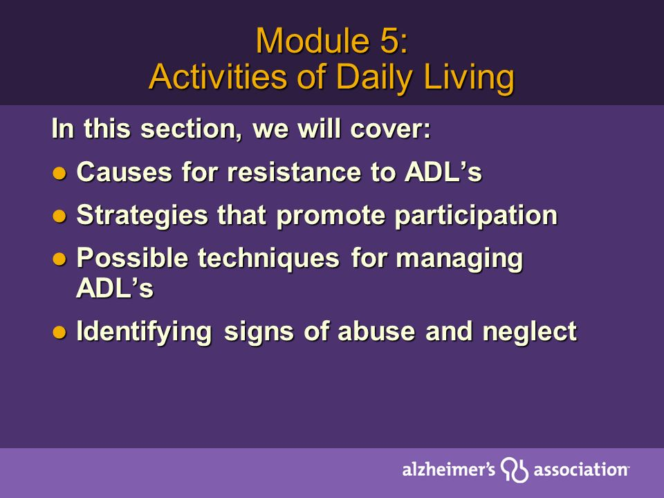 Module 5: Activities of Daily Living