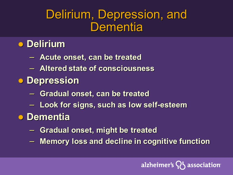 Delirium, Depression, and Dementia