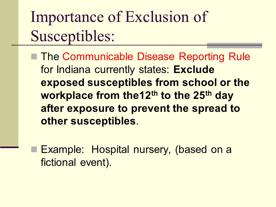 Importance of Exclusion of Susceptibles: