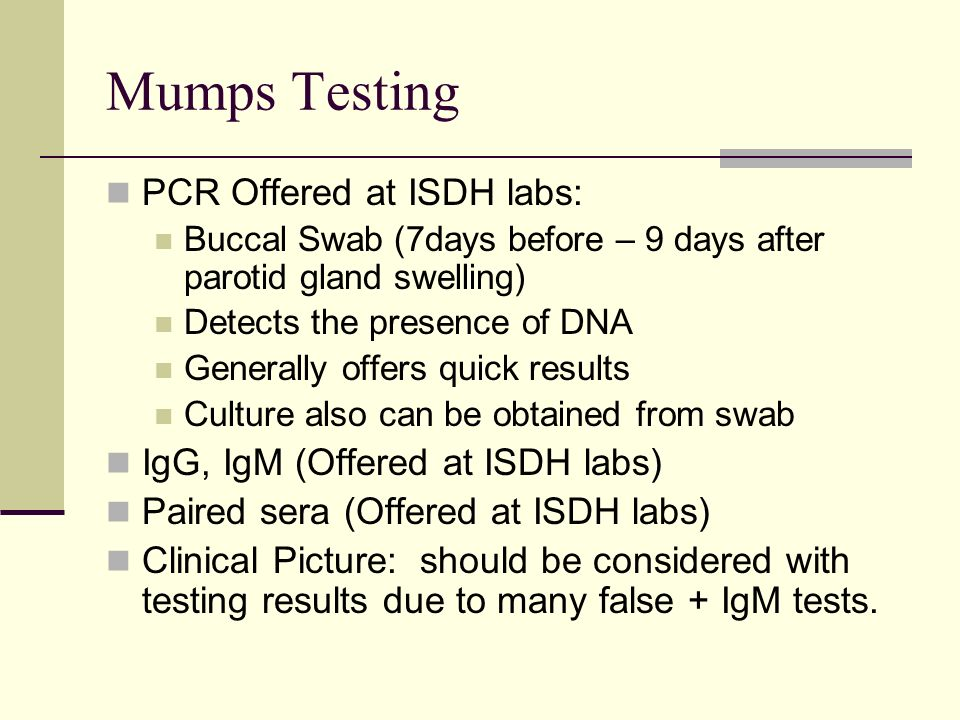 Mumps Testing PCR Offered at ISDH labs: