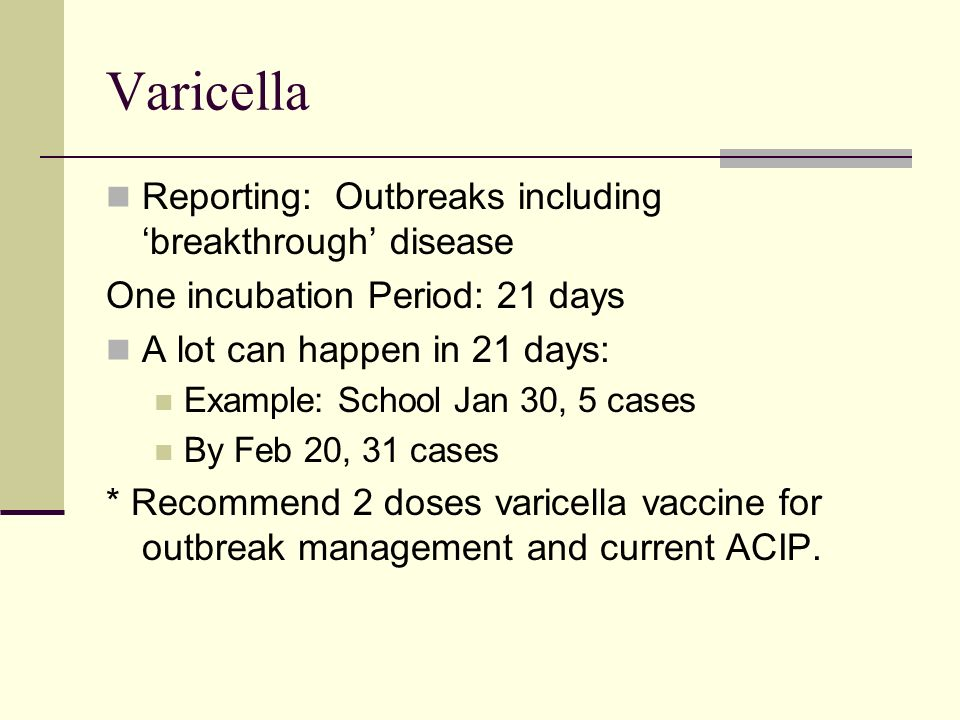 Varicella Reporting: Outbreaks including 'breakthrough' disease