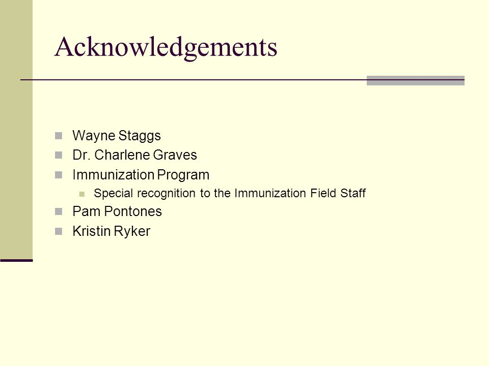Acknowledgements Wayne Staggs Dr. Charlene Graves Immunization Program