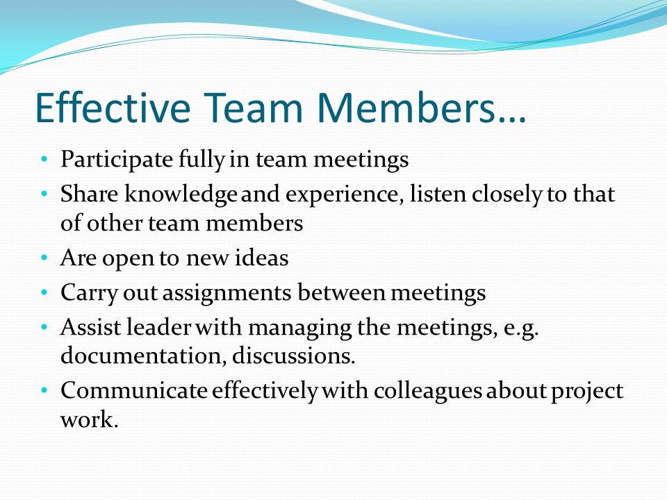 Effective Team Members…