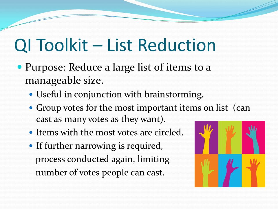 QI Toolkit – List Reduction