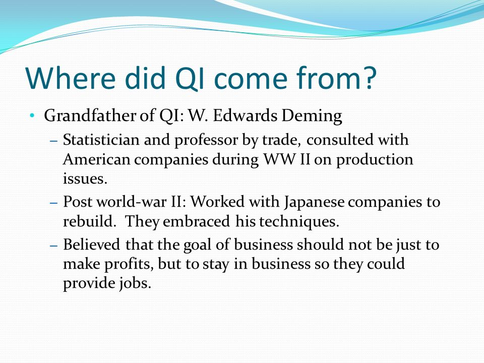 Where did QI come from Grandfather of QI: W. Edwards Deming