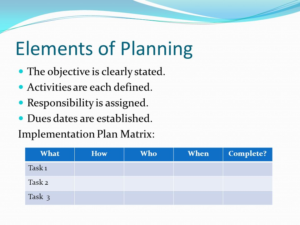 Elements of Planning The objective is clearly stated.