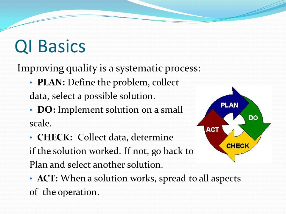 QI Basics Improving quality is a systematic process: