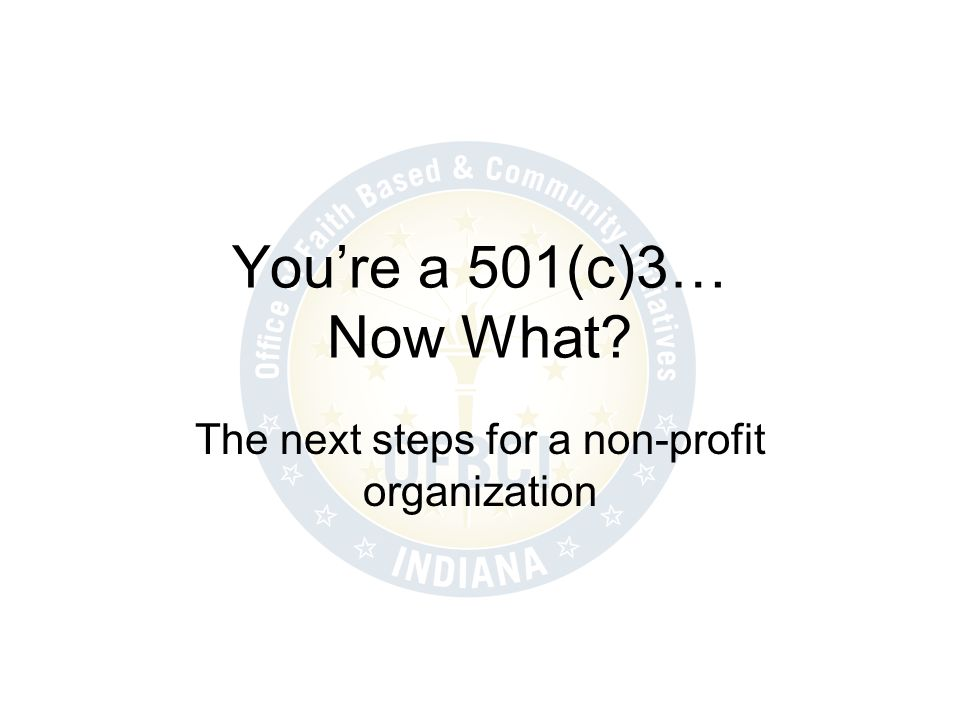The next steps for a non-profit organization