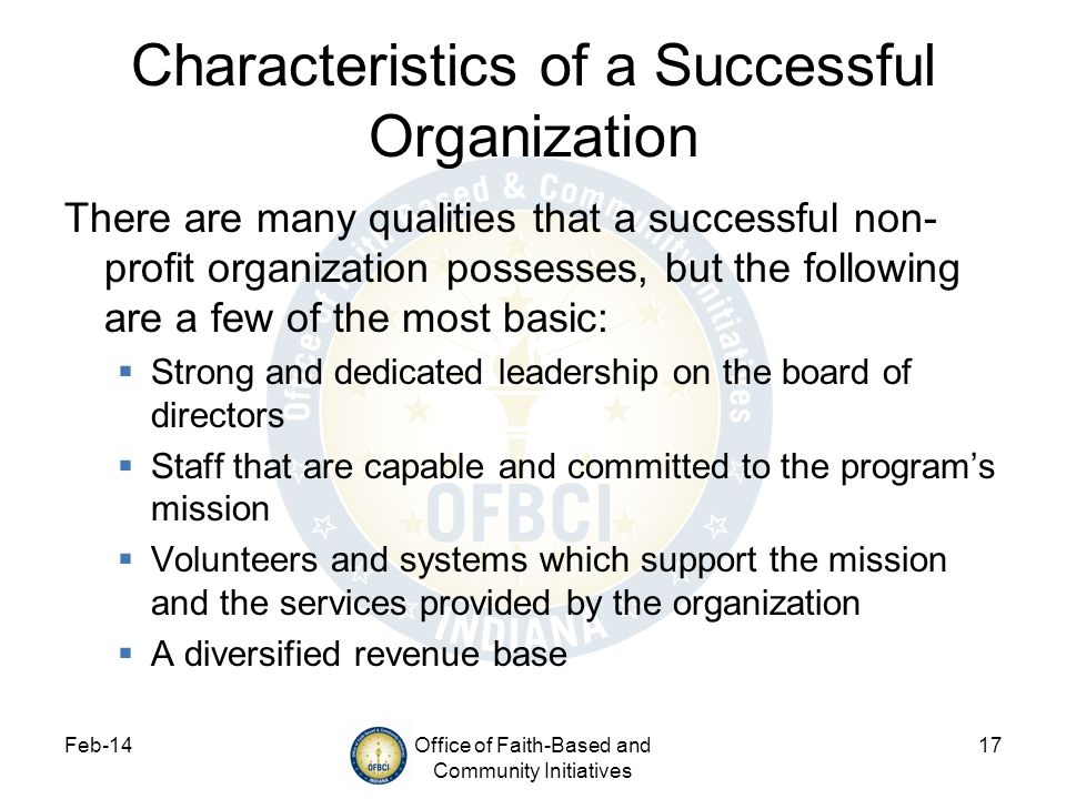 Characteristics of a Successful Organization