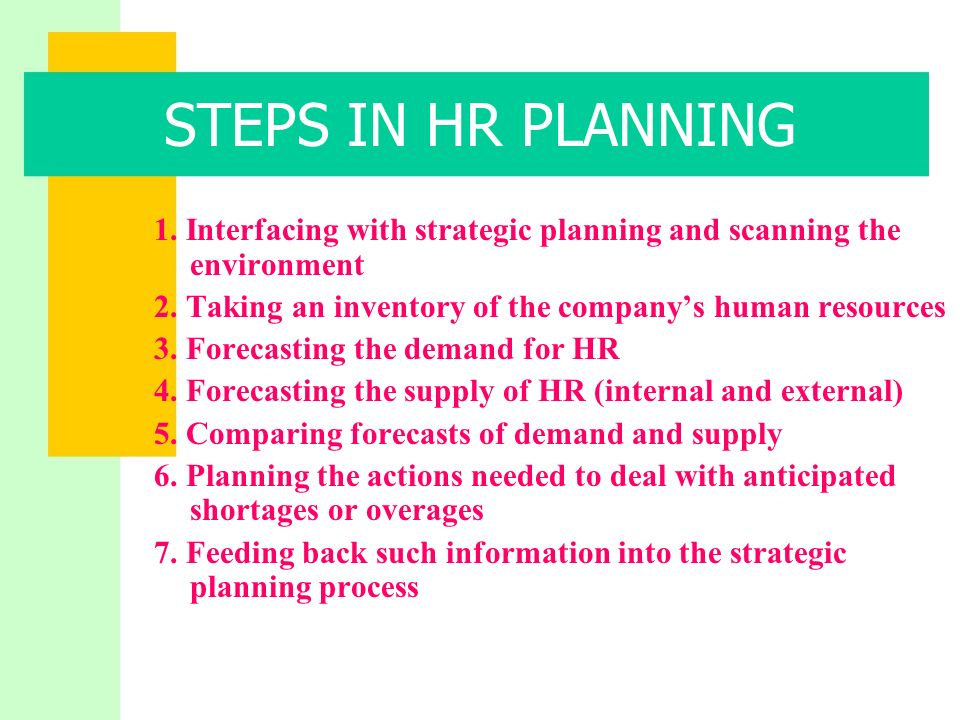 hr planning ppt 8 steps in hr planning