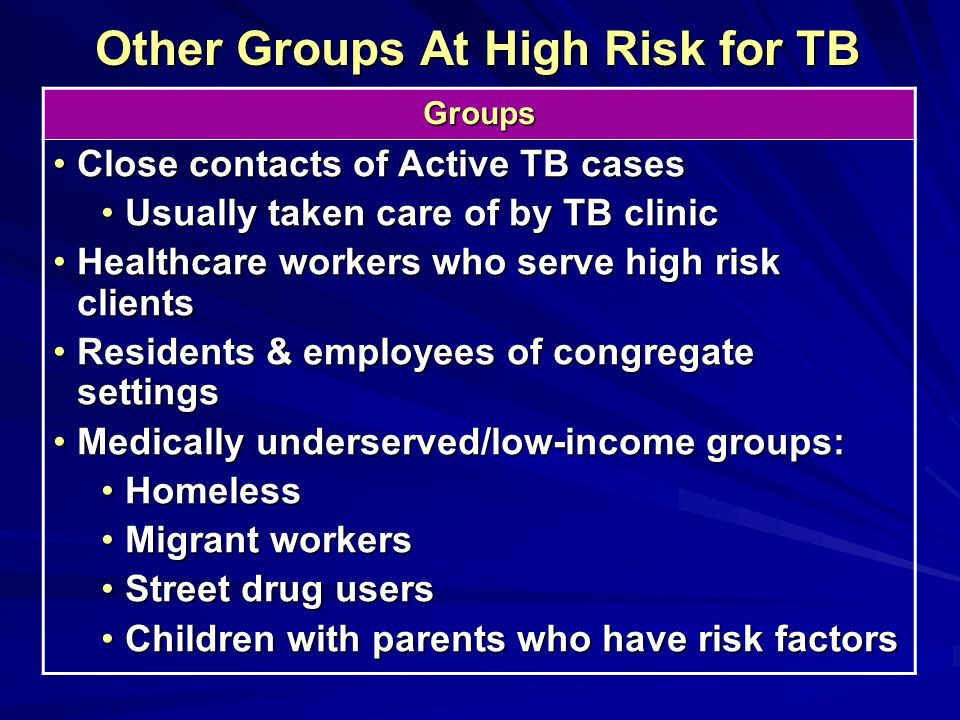 Other Groups At High Risk for TB