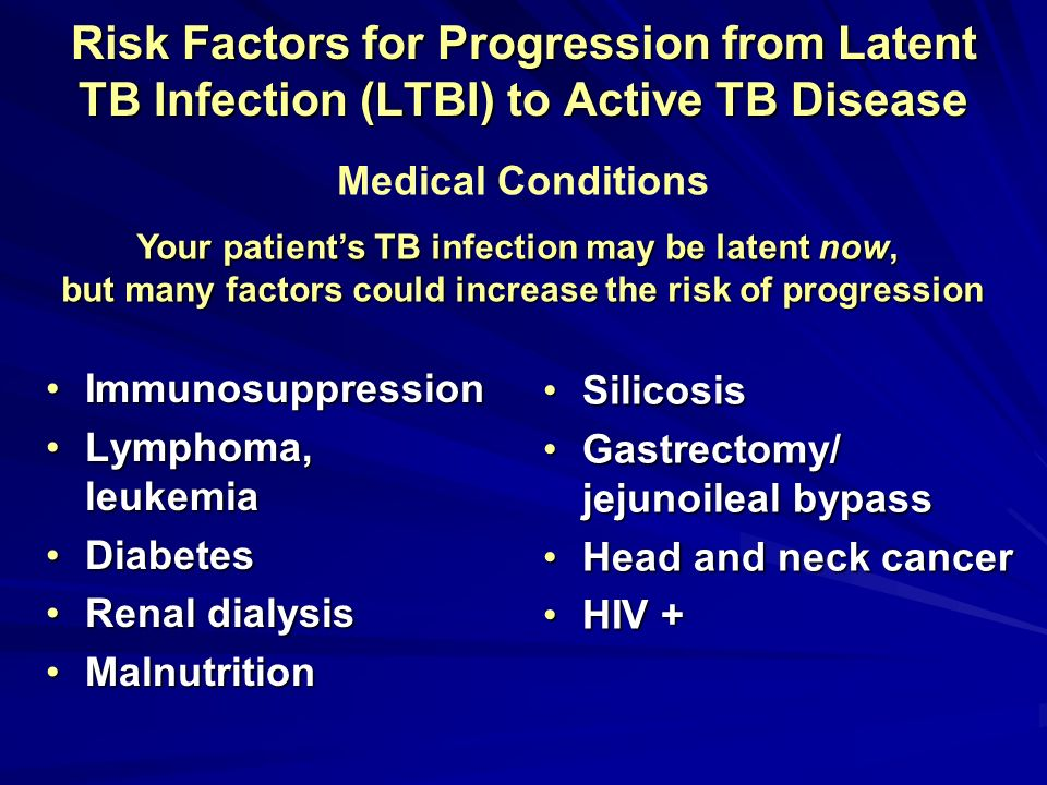 Risk Factors for Progression from Latent TB Infection (LTBI) to Active TB Disease