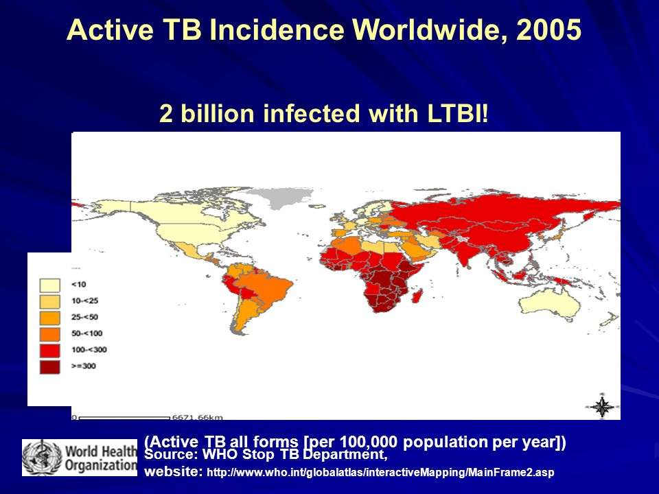 Active TB Incidence Worldwide, 2005 2 billion infected with LTBI!