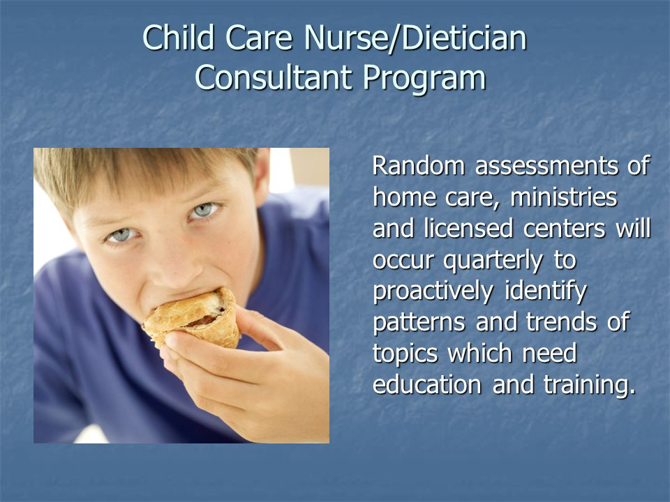 Child Care Nurse/Dietician Consultant Program