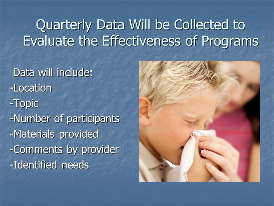 Quarterly Data Will be Collected to Evaluate the Effectiveness of Programs