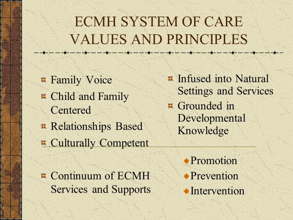 ECMH SYSTEM OF CARE VALUES AND PRINCIPLES