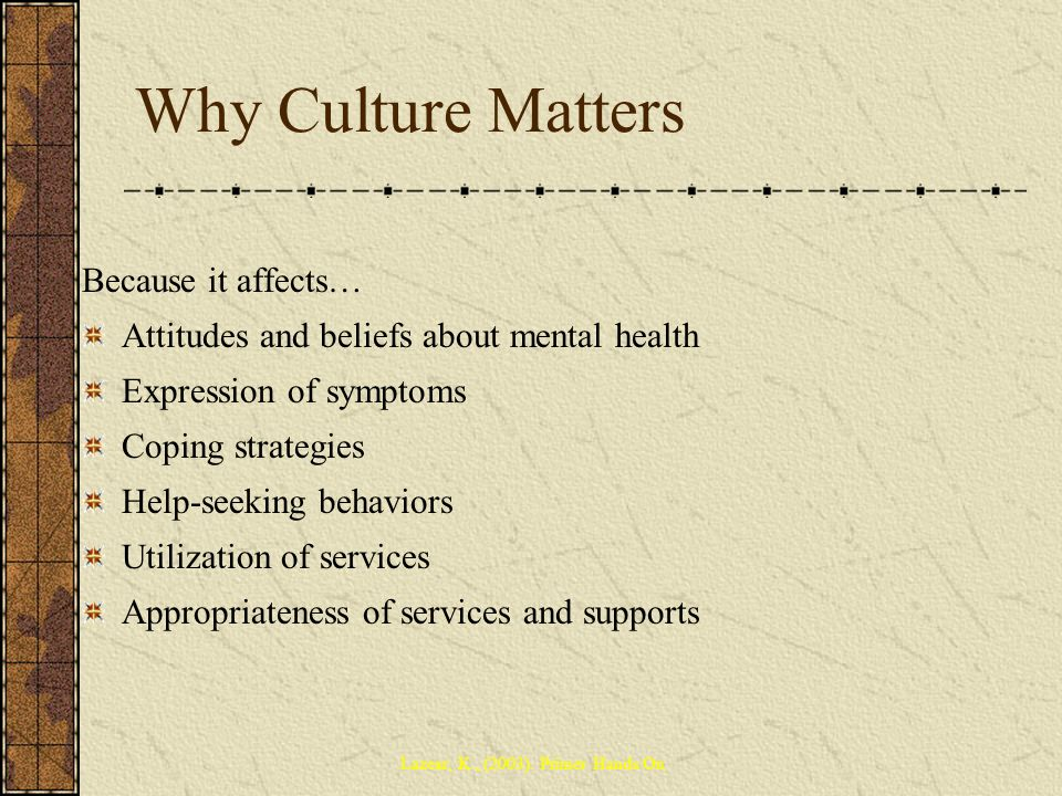 Why Culture Matters Because it affects…
