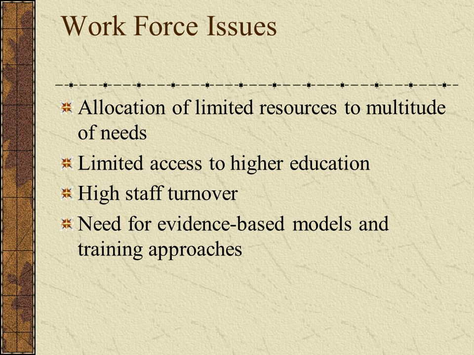 Work Force Issues Allocation of limited resources to multitude of needs. Limited access to higher education.