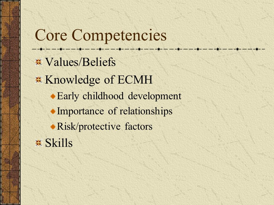 Core Competencies Values/Beliefs Knowledge of ECMH Skills