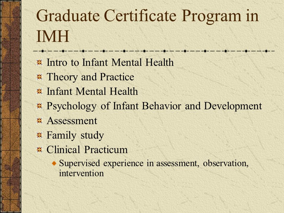 Graduate Certificate Program in IMH