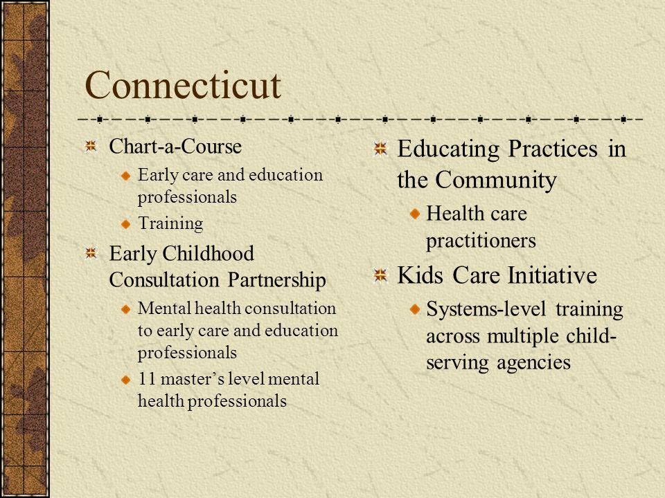 Connecticut Educating Practices in the Community Kids Care Initiative
