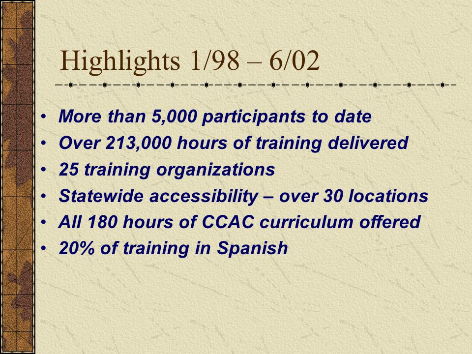Highlights 1/98 – 6/02 More than 5,000 participants to date