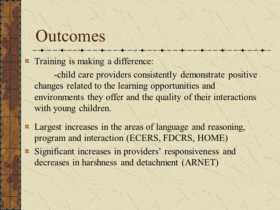 Outcomes Training is making a difference: