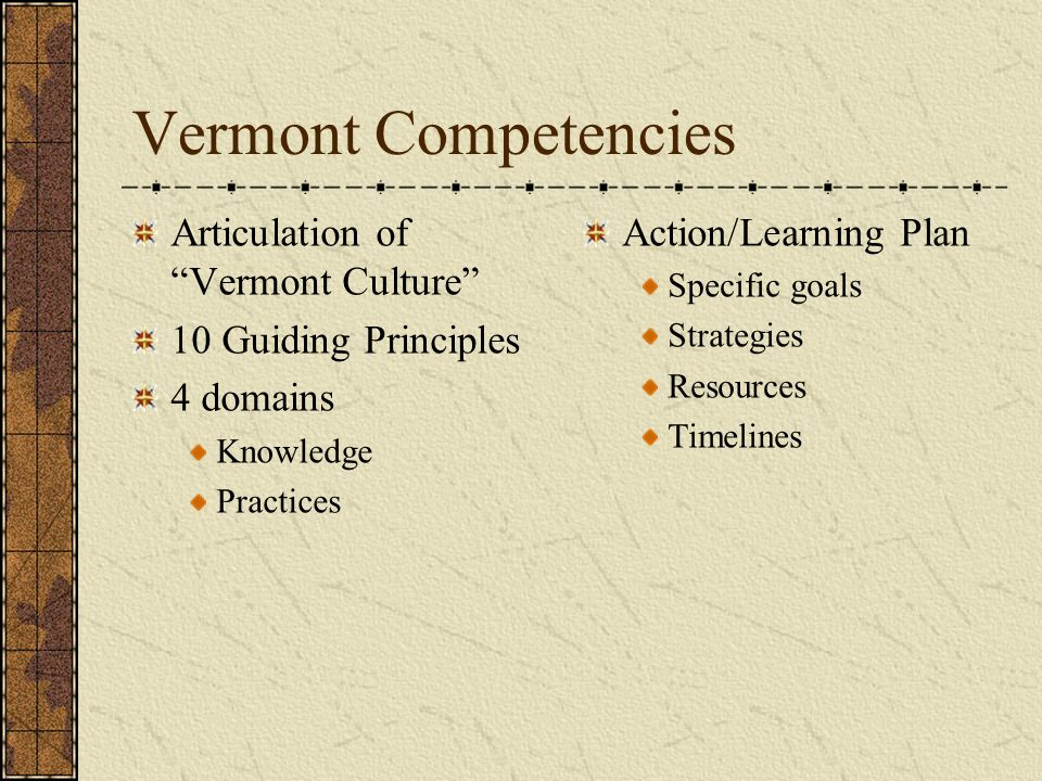 Vermont Competencies Articulation of Vermont Culture