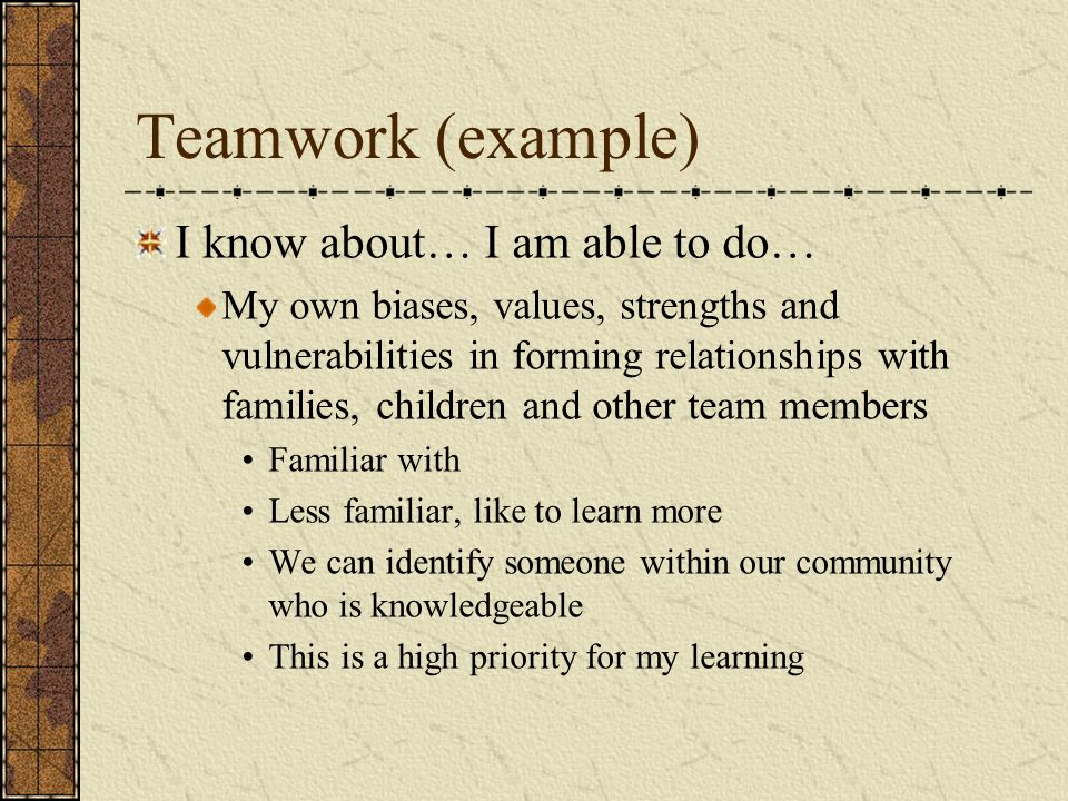 Teamwork (example) I know about… I am able to do…