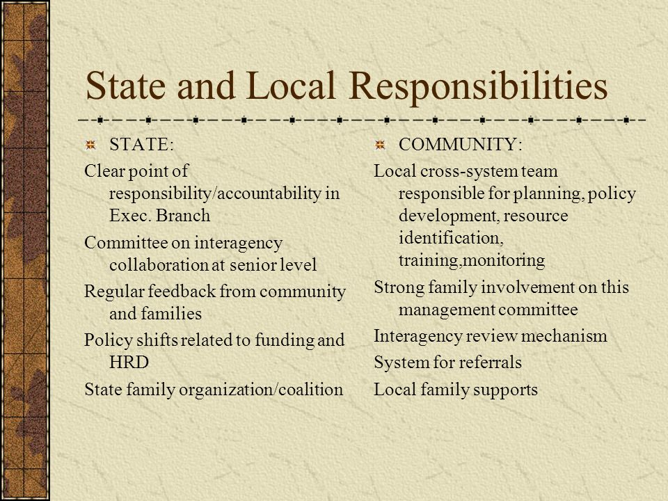 State and Local Responsibilities