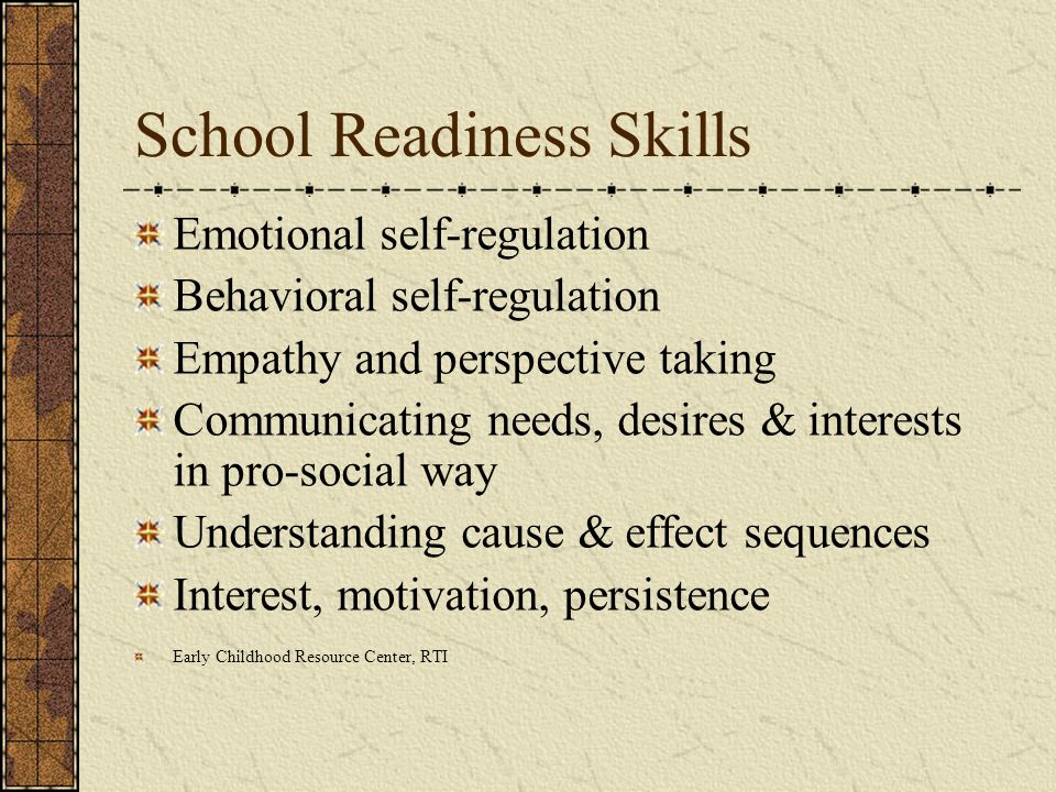 School Readiness Skills