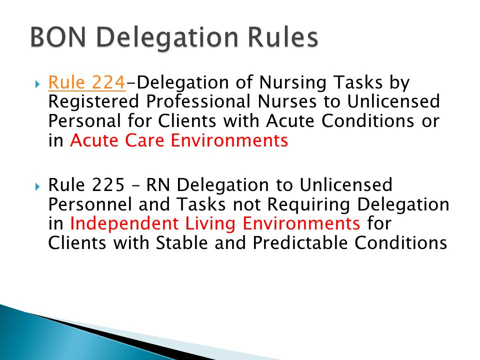 delegation in health care Assignment and delegation guidelines for registered nurses and licensed practical nurses 2012 1 introduction and purpose in today's health care environment when health care professionals.