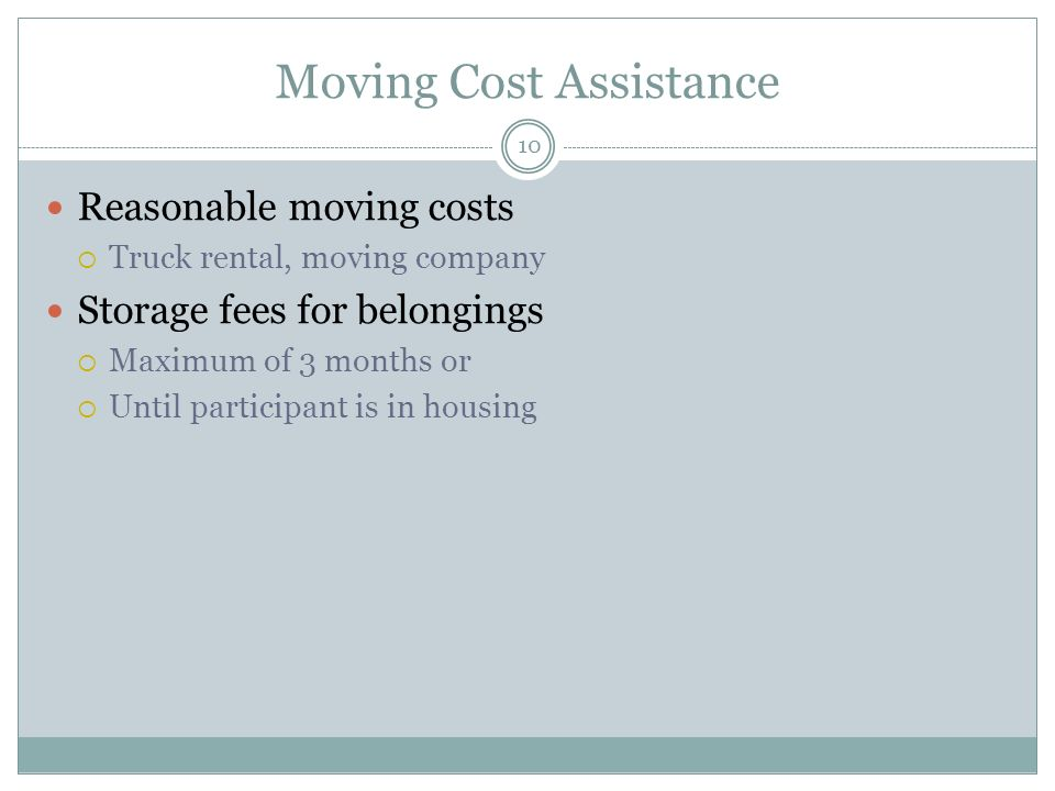 Moving Cost Assistance