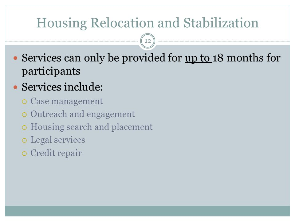 Housing Relocation and Stabilization