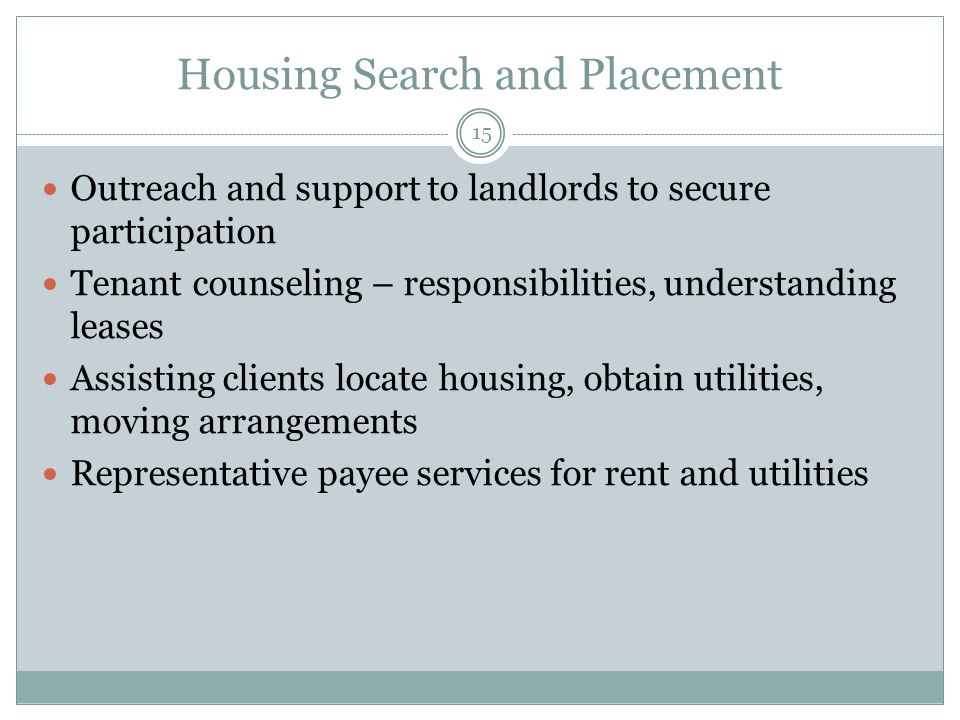 Housing Search and Placement