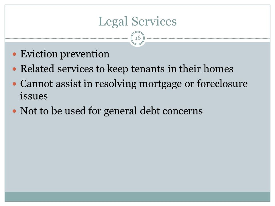 Legal Services Eviction prevention
